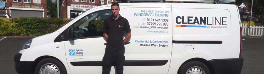 The Cleanline van with one of our window cleaners